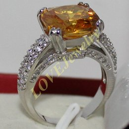 Lady's 925 Silver Cushion-cut Yellow Topaz Gem CZ Paved Wedding Ring Jewelry for Women