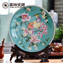 Wholesale Classic Hand painted White Ceramic Hanging Wall Plate Retro Floral Birds Pattern Round Plate Porcelain home decorations Room Ornaments