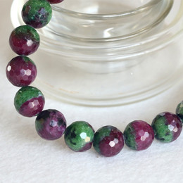 Wholesale Natural Genuine Half Red and Green Ruby Zoisite Finished Stretch Bracelet Faceted Round Loose beads Jewelry DIY