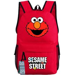 Wholesale Sesame street backpack Elmo big bird school bag Workshop day pack Cookie monster schoolbag Bert rucksack Ernie daypack