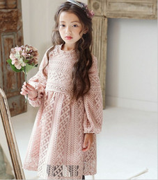 Wholesale Princess Girls Party Dress Big Girl Long Sleeved Lace Dress Autumn New Girl s Dress Elegant Vintage Kids Clothes Apricot Pink One piece