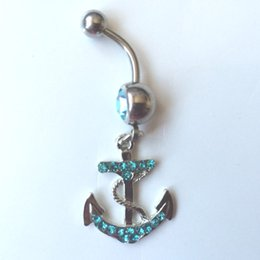 Wholesale 0032 Nice style anchor design Navel Belly ring AQUA stone drop shipping factory price