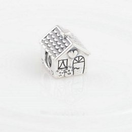 charm silver house pendants sterling silver for women fits pandora style bracelet and necklace free shipping LW375