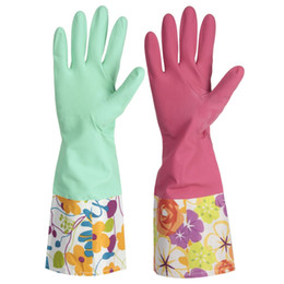 Wholesale Price Fashion Pair Floral Rubber Latex Kitchen Housework Elbow Long Gloves Washing Cleaning Tools CM