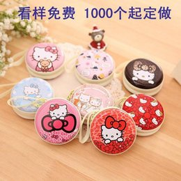 Wholesale HELLO KITTY Korean fashion creative fun cartoon cute bearded coin purses headset package wallets women men cm