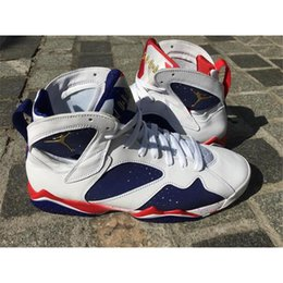 Wholesale Air Jordan Retro Olympic Alternate Air Jordans Retro Olympic Tinker Alternate VII men lifestyle shoes NEW white With Original Box