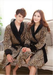 Wholesale- New Winter women and men's high quality Coral fleece bathrobe leopard Robe Men sleepwear night-gown Plus Size Free