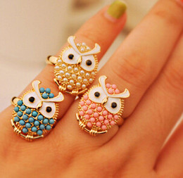 Owl Pearl Ring For Women Cute Mix Colors Korean Style Girl Jewelry Gift New Hot Wholesale Blue White Pink