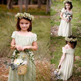 Bohemaian Style 2016 Chiffon Off Shoulder A-line Flower Girls Dresses For Weddings Cheap Scoop Short Sleeve Pleats Formal Gowns EN6142