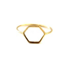 New fashion jewelry hexagonal ring 18 k gold plated ring free high quality women wholesale fend unique jewelry JZ112 joint holiday best gift