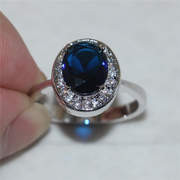 Wholesale Size Princess KT white gold filled Blue Sapphire Oval Gemstone Rings Wedding Gift for Women Girlfriend