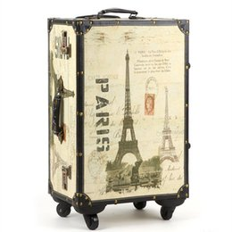20,24,14 Inch Retro Trolley Case,Spinner wheel,PU leather,Eiffel Tower, waterproof, shock Travel Suitcase,Rolling Luggage bag