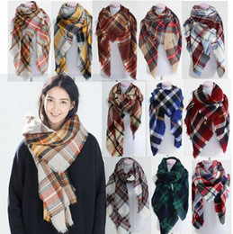Wholesale 92 colors Winter New Tartan Scarf Plaid Blanket Scarf New Designer Unisex Acrylic Basic Shawls Women s Scarves Big Size CM HHA1119