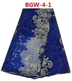 2016 Newest design good price net lace fabric with stones 5 yards per lot fabric BGW-4
