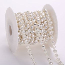 10yards lot 8mm Pearl Jewelry DIY Making Findings Ivory Flatback Pearl Rhinestones Chain Roll Of Pearl Strand For Crafts