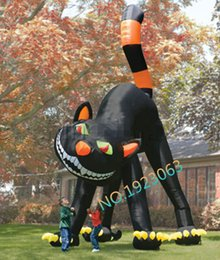 Wholesale 20ft Lovely Animated Giant Inflatable Black Cat for Halloween Decoration
