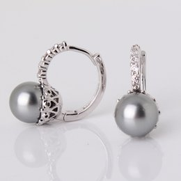 Wholesale oop earring findings MOLIAM EXCELLENT STYLE HOOP EARING WOMEN k White Gold Plated Pearl Earrings With Original Box Lovely Earrings Jewe