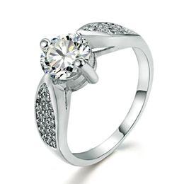 Engagement Ring for Women Wedding Band Rings AAA Zircon White Gold Filled Diamond Rings for Women Platinum Filled