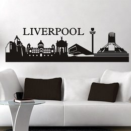 Wholesale ome Decor Wall Sticker Wall Stickers Footballl Wall decor PVC material decals Football Building City Liverpool Size mm