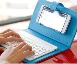 Caso de cuero del teclado del iphone en venta-Portátil de la caja del teclado de Bluetooth para el iPhone 6 / 6S / 6 Plus de Samsung HTC Lenovo HUAWEI teclado sin hilos de cuero cajas del teléfono móvil