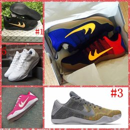 Wholesale with shoes box Kobe XI elite black gold Barcelona grey rainbow pink breast cancer full white basketball shoes sneakers