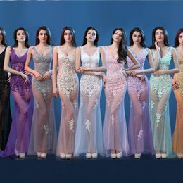 Wholesale Hot Sale Sexy Deep V Neck Appliques Long Prom Dress Mermaid Tulles See Through Floor Length Bar Club Party Gowns Night Dresses Vestidos