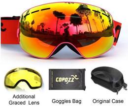 brand ski goggles UV400 2 double lens anti-fog ski goggles spherical ski men women snow goggles the GOG-201 + box set