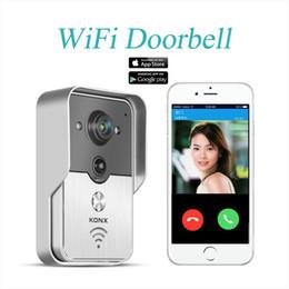 Wholesale 2015 Popular WiFi Wireless Video Door Phone intercom Doorbell Peehole Camera PIR IR Night Vision Alarm Android IOS Smart Home