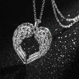 Anges ailes en Ligne-Les nouvelles filles de mode filles 925 argent Angel Wing Heart Pendentif collares bijoux colliers pendentifs cadeau