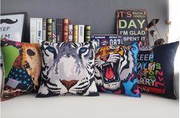 Color White Tiger Deer Pop Art Ferocious Animals Massager Decorative Pillows Fiber Emoji Case Euro Cover Home Decor Arts Gift