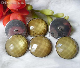 Wholesale Resin shank button quality with Brass Dome faceted army green mm Bag Sold By Bag