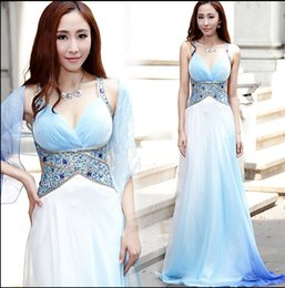Sexy Backless Crystal Party Evening Annual Dresses 2016 Halter Beading Chiffon Multicolor Long Occasion Clubwear Runway Prom Pageant Gown