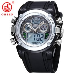 2017 OHSEN brand Swimming sport watch boys Mens digital Quartz display waterproof silicone band Silver fashion watches hours for male gift