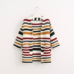 Wholesale New Kids Girls Candy Knitted Cardigans Sweater Jackets Fall Winter Fashion Children Coats
