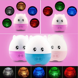 Pig Shape Rotating Sky Star LED Projector Night Light for Christmas with Speaker #B591