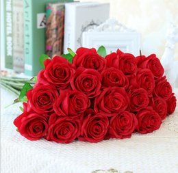 Wholesale Cheap Wholesalers For Christmas Decorations - New Styles Artificial Rose Silk Craft Flowers Real Touch Flowers For Wedding Christmas Room Decoration 8 Color Cheap Sale HR018