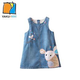 Wholesale Cute Jean Dresses - Letter Mouse Patch Girls Jean Dress Sleeveless Shift Vest Dresses Cute Preppy Style Kids Wear YAKUYIYI