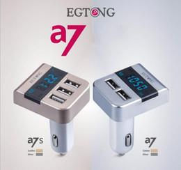 A7s sony en Línea-EGTONG A7S A7 del cargador del coche del adaptador de 5V 3.1A voltímetro digital con triple puertos USB Detecta la pantalla de voltaje de la batería del coche Pantalla LCD