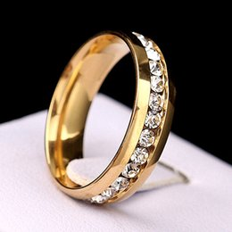 wholesale bulk lots 100pcs gold high quality one row cz stone stainless steel polished band rings wedding engagement jewelry