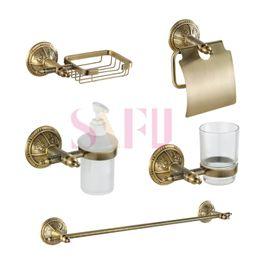 Wholesale Europe style brass golden bathroom shower kits tower rack Paper towel holder Soap Basket Liquid bottles bath sets