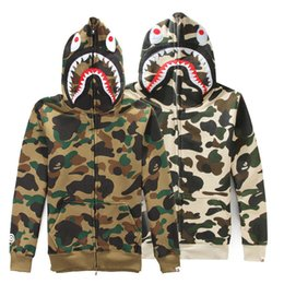 Wholesale 2016 Men s Shark Hoodie Sweatshirts Autumn Winter Camouflage Camo Army Military Men Jacket Full Zip Hoodie Fleece Cardigan Sweatshirt Coats