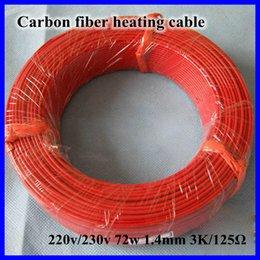 Cable calefactor techo en Línea-Al por mayor-Nueva infrarrojos teflón Suelo radiante Sistema de cable de 1,4 mm 3K / 125Ohm PTFE / silicona fibra de carbono Suelo Techo eléctrico Línea Wire