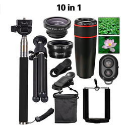 Wholesale-New 10in1 Phone Camera Lens Kit 8x Telephoto Lens + Fish Eye + Wide Angle + Macro Lens + Selfie Stick Monopod + Mini Tripod