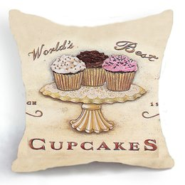 Wholesale 45CM Cushion Cover Pillow Case Throw Home Sofa Decorative World s Best Cupcakes Cupcake