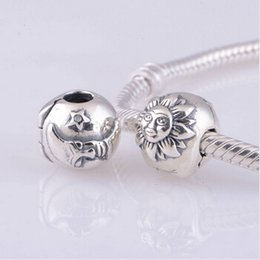 Wholesale Authentic Sterling Silver Lock Clip Core Stopper Charm Beads Jewelry Fits Pandora Bracelet DIY Accessories KT077 N