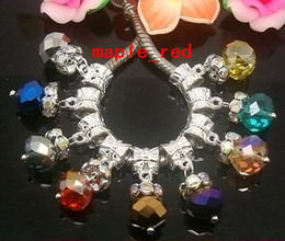 100PCS lot Mixed Beautiful Crystal Rhinestone Round Space Silver plated Dangle Pendants fit European Bracelets & Necklace hole size 5mm