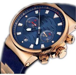 Men fashion style casual watches, Mens Quartz Chronograph rubber band original clasp men watches wristWatch UN1