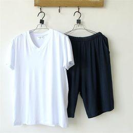 Wholesale Men s Pajamas Summern Bamboo Fiber Cotton Pajamas Short sleeve Solid V neck Pyjamas Men Lounge Pajama Set