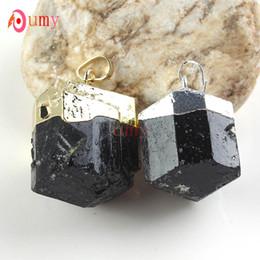 Wholesale 10Pcs Gold   Silver Plated Gorgeous Natural Black Tourmaline Stone Random Shape Pendulum Pendant Fashion Jewelry