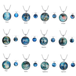 Wholesale Fashion Popular Noctilucent Necklace Constellations Zodiac Sign Pendant Grow in the dark Jewelry Art Chrismas Gift